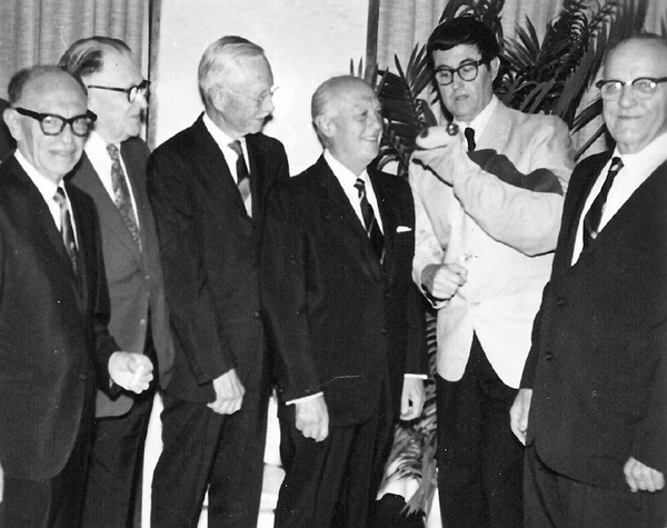 Dave Fleischer, Paul Terry, John Randolph Bray, Walter Lantz, Bob Clampett (with Cecil puppet), and Otto Messmer. Photo courtesy of Michael Barrier