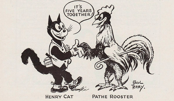 The Pathé Rooster and Paul Terry's Henry Cat, 1926. Thanks to Charlie Judkins.