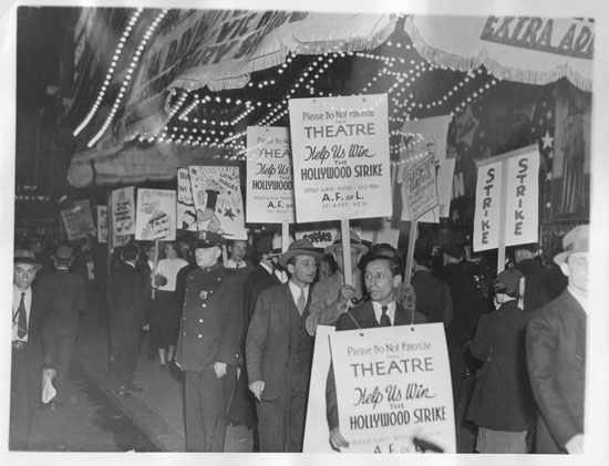 Fleischer animators on Strike in front of the Paramount Theatre in Times Square - in this 5/22/37 news photo. (click to enlarge)