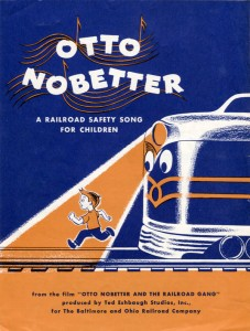 The Sheet music to Otto Nobetter.  This was issued to schools for later class or all school sing-a-longs.  Notice how, unlike the souvenir booklet, the Ted Eshbaugh Studios has a credit on the cover.