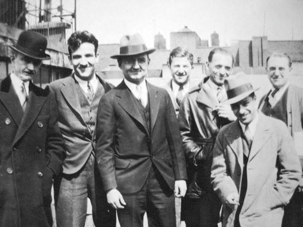 1931 Terry staffers (L to R): Jerry Shields, Bill Tytla, Frank Moser, Charles Sarka. Behind: Art Babbitt, unknown, Paul Terry.