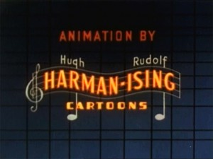 "The onscreen logo for Harman and Ising Cartoons as seen during the credits of ""Good Wrinkles"".  The logo was first used on the 1934 M-G-M 'Metrocolor Cartoon' ""The Discontented Canary"".  The logo stopped being used in 1938 after Hugh Harman and Rudolf Ising were hired individually by M-G-M.  It was revived again in 1946 when Harman & Ising Cartoons was revived"