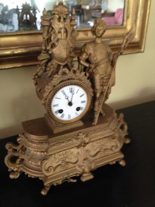 An antique clock previously owned by John and Grace Foster