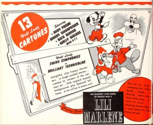 "August 1944 trade advertisement which advertises ""Miss X"" as ""Miss NYC"" - and promotes a Swing Symphony based on ""Lili Marlene"" (which was never produced)."