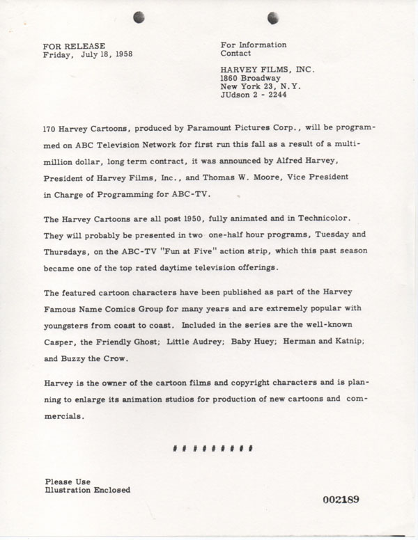 Harvey-Press-release