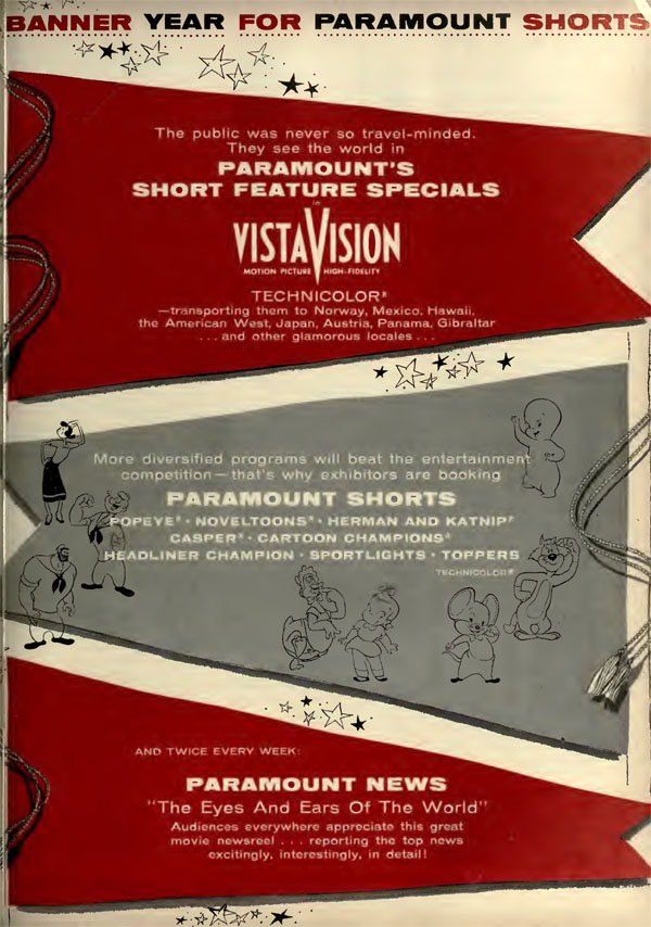 ABOVE: The Paramount Shorts trade advertisement published in October 1956 - note it no longer mentions Famous Studios