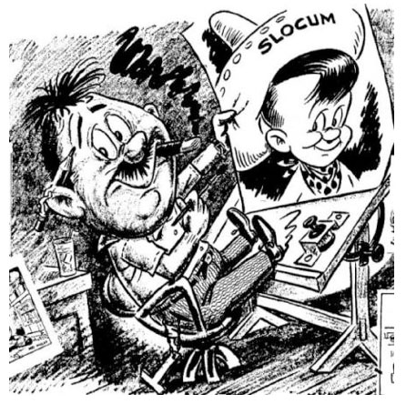 A self-caricature that appeared in The Van Nuys News newspaper 1949