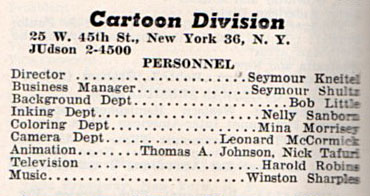 """From the 1958 Film Daily Yearbook, reflecting the 1957 personnel of the Paramount Pictures """"Cartoon Division"""""""