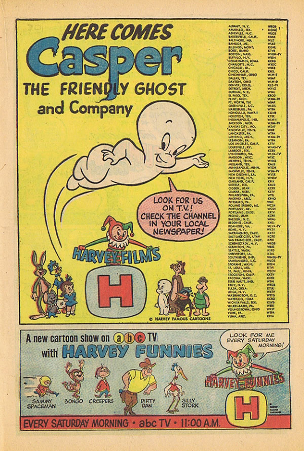 This ad appeared in issues of Harvey Comics in the fall of 1963 - It publicizes the syndicated Harveytoons, as well as the New Casper Cartoon Show on ABC, using obscure characters from the 1960-62 Modern Madcaps!