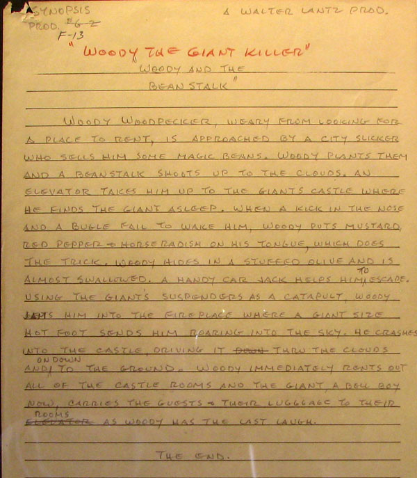 "The original hand-written premise for ""Wood The Giant Killer"""