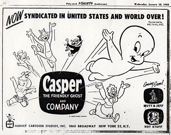 "Interesting ABC Films trade ad from early 1962 touting ""Casper and Company"" now in syndication. ""Mutt and Jeff and ""Hot Stuff""? Was Harvey considering  making TV cartoons with them?"