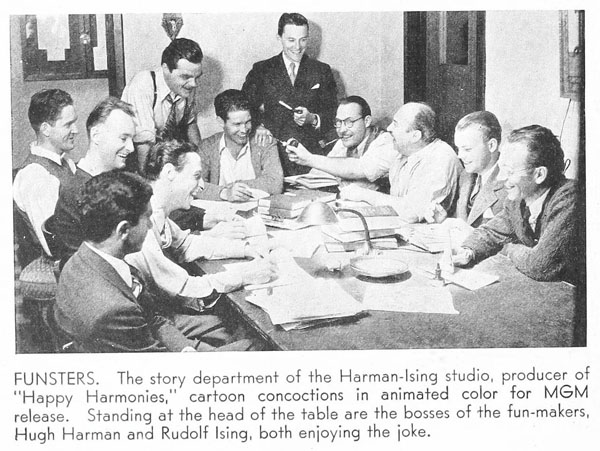 Rudy Ising and Hugh Harman (hand on shoulder) flank Bill Hanna  in this shot of the staff circa 1935. Can you name the other artists in the picture?