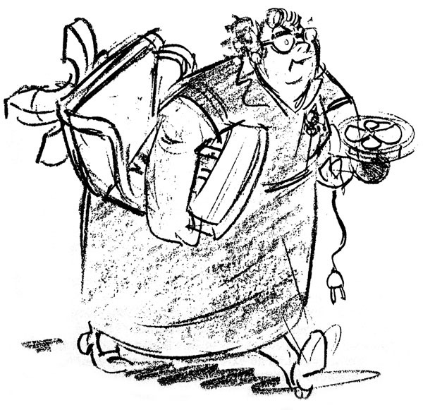 A caricature of La Verne Harding drawn by animator Gil Turner