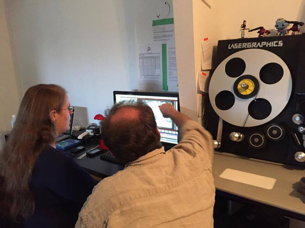Steve Stanchfield (from behind) overseeing new 2K scans of Bray films in late 2015