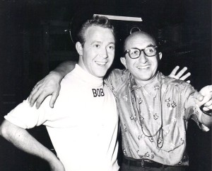 "Sid Miller with Bob Amsberry during filming of The Mickey Mouse Club ""Holiday in Hawaii"" skit."""