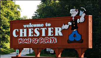Chester, Illinois – home of Popeye – the annual Popeye Picnic (and Lots of Popeye T-shirts)!