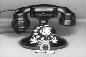 "A scene from Frank Goldman's 1932/33 cartoon and stop motion A.T.&T. film ""Getting Together"".  This film, a sound remake of Goldman's 1924 A.T.&T. stop motion film, would be remade again at Jam Handy by Goldman in 1947 as ""Just Imagine"".  Image courtesy of Thomas Stathes."