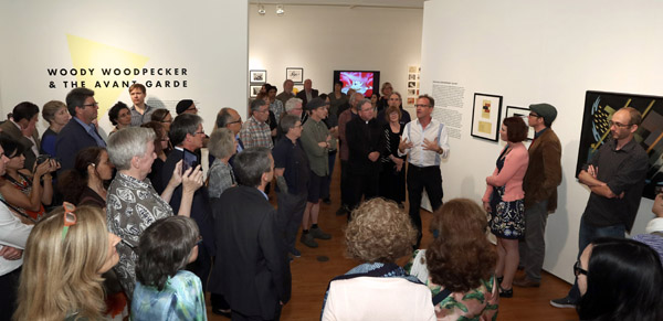 Tom Klein addresses the crowd at the opening of his LMU exhibit (click to enlarge)