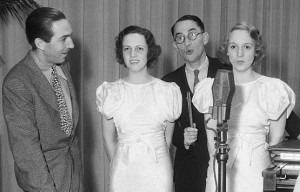 "Walt Disney with the ""Three Little Pigs"": Dorothy Compton, Pinto Colvig and Mary Moder"