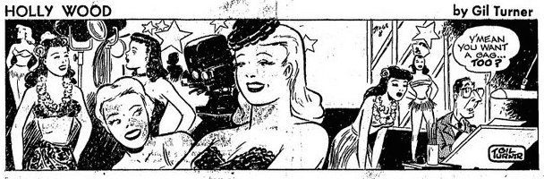 Redwood Weekly, May 24th, 1950: Turner draws a self-caricature in the last panel of this Holly Wood strip.