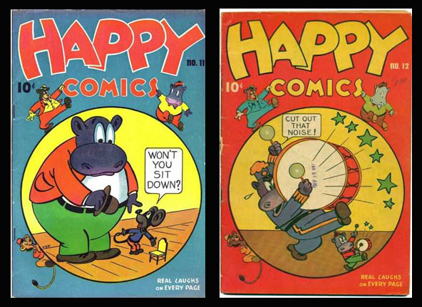 HAPPY COMICS #11 and #12. Cover art by Víctor Estenio Pazmiño (aka VEP)