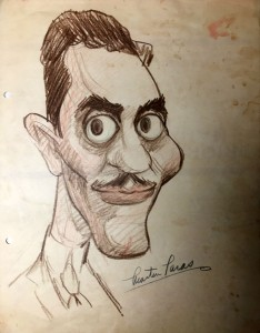 """Caricature of a younger Taras during his Terrytoons period in the late 1930s, drawn by Frank Carino (later changed to Frank Carin). Click to enlarge."