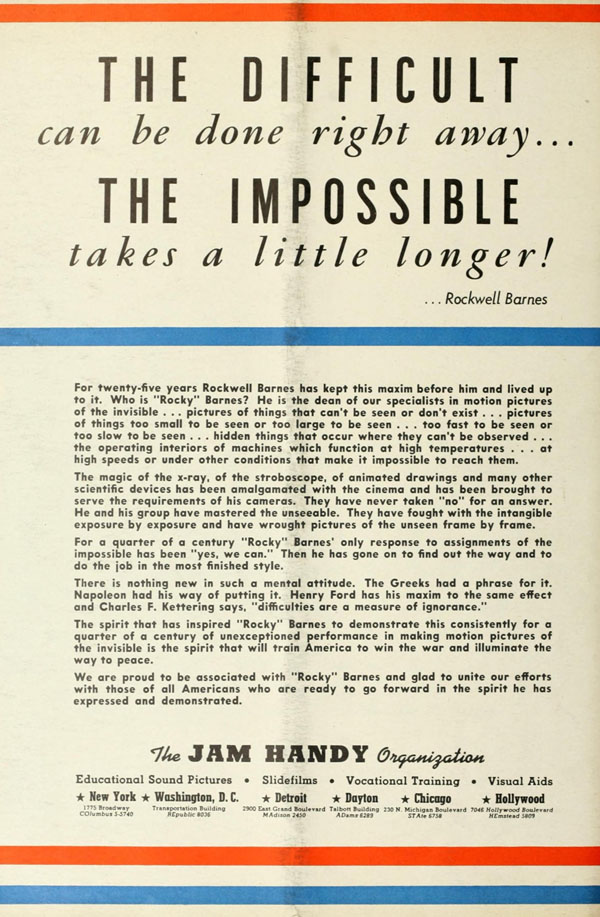"A Jam Handy trade ad from World War II, honoring and showcasing the work of Rockwell ""Rocky"" Barnes."