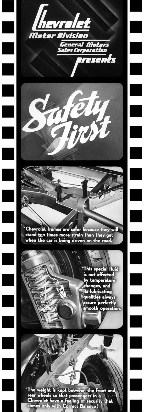 "A selection of frames from the 1936 Chevrolet Dealer filmstrip ""Safety First"" (Vol. 11 No. 8).  Note the fourth frame featuring the two inspectors in scuba diving suits inspecting Chevrolet's knee action; this scene, along with the third frame was drawn entirely by Rockwell Barnes.  The final frame shows the live action actors composited onto Barnes' drawing."