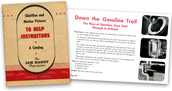 """Down The Gasoline Trail"" as advertised in a post-WWII era film catalogue from Jam Handy.  The film was stated to ""show the inner workings of the fuel system in a way the student will never forget""."