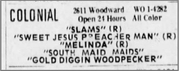 A 1972 Woody Woodpecker cartoon rates billing in this newspaper ad  - from The Detroit Free Press, 10/24/73 - on a triple bill of R-rated action pictures.