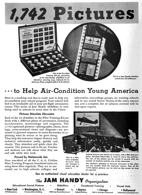 Trade ad for one of Jam Handy's World War II era projects: a pilot training filmstrip series, which was produced prior to the entering of World War II.  This set, like many other military and war front projects Jam Handy produced throughout 1940 and 1941, required Rockwell Barnes' artistry and skill.  Projects such as these were far more important than a series of novelty advertisement films for Chevrolet, which explains the absence of Barnes' work in them throughout 1940 and 1941.