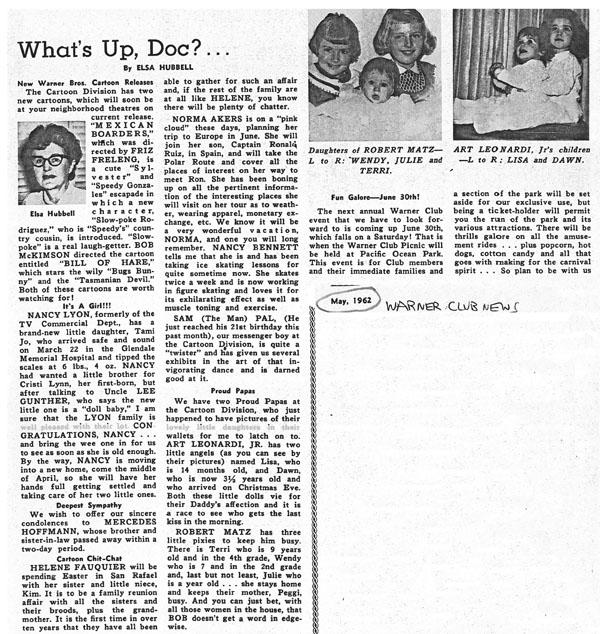 (1962) News Warner 1 Club Part –