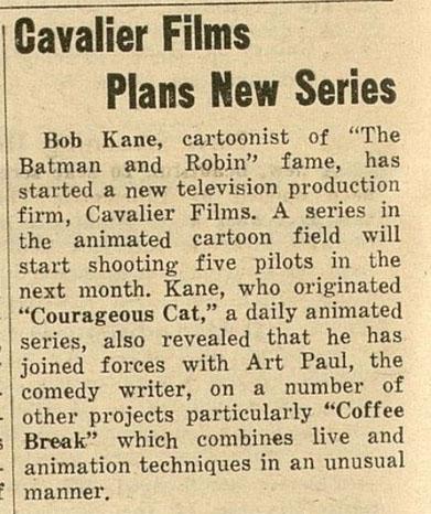 Bob Kane clipping