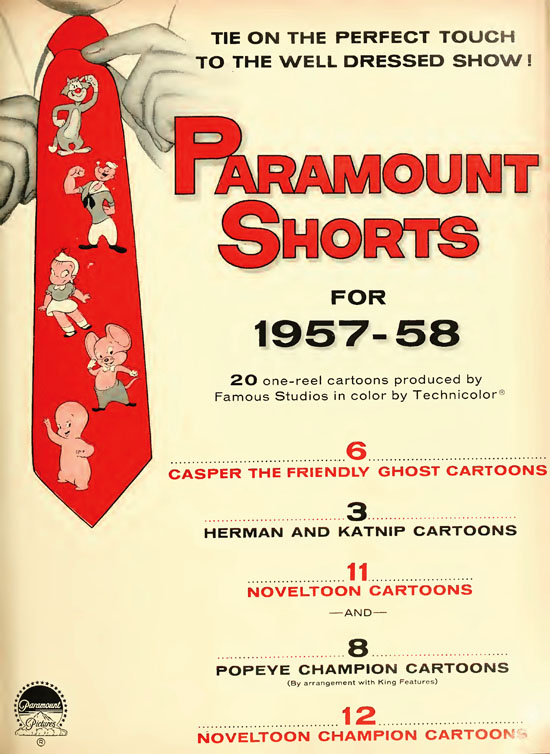 """I cannot explain why the 1957-58 trade advertising credits """"Famous Studios"""" - but it does."""