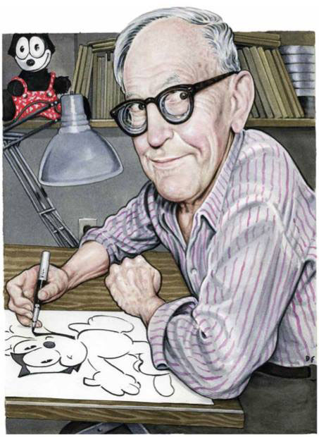 Otto Messmer by Drew Friedman - from his new book.