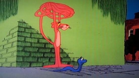 "The Blue Racer made his final appearance in the Pink Panther cartoon ""PinkTails for Two"" (1978 – Directed by Art Davis), where he mistakes the Panther's tail for a female snake."