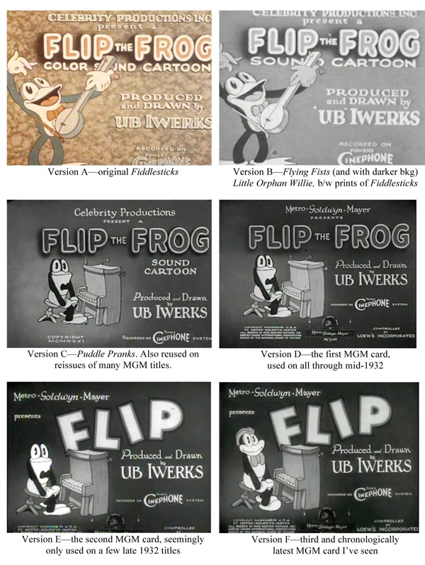 Flip the Frog title card chronology