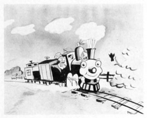 """A black and white trade photo, from the 1953 No. 1 Vol. 14 issue of Business Screen Magazine for """"The Happy Locomotive"""" color filmstrip.  Filmstrips were long pieces of 35mm film, ranging from a few feet to a yard or two in length and were composed of individual pictures.  They were frequently used as educational aides in schools, factories, military institutions, etc. for teaching and demonstrating concepts and ideas.  Soundtracks for these films were issued on vinyl records."""