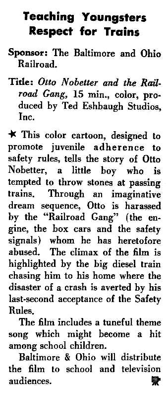 """A film review for """"Otto Nobetter And The Railroad Gang"""" from the 1958 No. 2 Vol. 19 issue of Business Screen Magazine."""