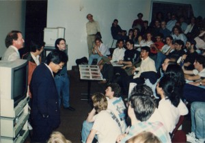 Jerry does Q&A with Otomo at an Asifa-East meeting (note animator Howard Beckerman against the wall in the center)