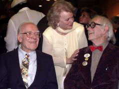 Frank Thomas and Ward Kimball - with  Ilene Woods, the voice of Cinderella - in 2001