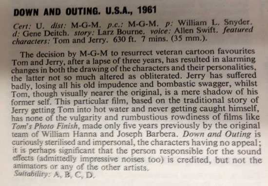 "Review of a Deitch Tom & Jerry cartoon from the British ""Monthly Film Review"", August 1962 (via, Tony Perodeau)"