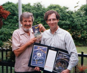 Jerry (right) presents Jack Schleh (left) the director/creator of COLONEL BLEEP with a copy of Streamline's VHS, at his home in Miami Florida. (click to enlarge)