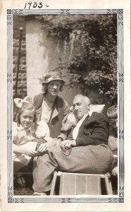 John Foster in a rare moment of relaxation with wife Grace and daughter Doris, 1933 (click to enlarge)