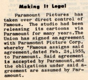 A notice in the October 1956 cartoonist union newsletter, TOP CEL, informing of Paramount's takeover.