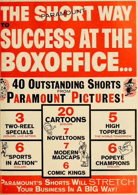 The annual Paramount Shorts trade announcement from BOXOFFICE magazine 11/26/62