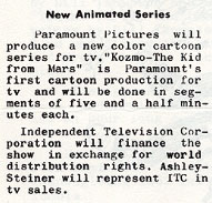 This item appeared in the Dec. 1961 Pegboard, the NY Screen Cartoonists newsletter.
