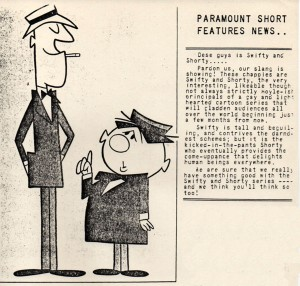 "The introduction of Swifty and Shorty in Paramount's in-house trade newsletter, ""Paramount World"". (click to enlarge)"
