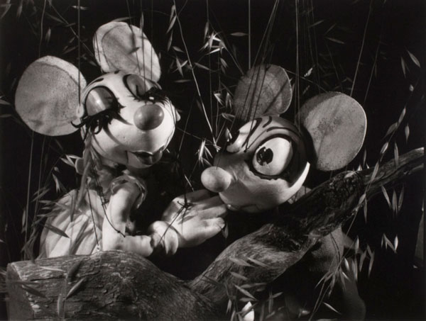 This image of mice puppets is one among numerous photographs of the Walton and O'Rourke marionettes taken by Ruth Bernhard in 1938.