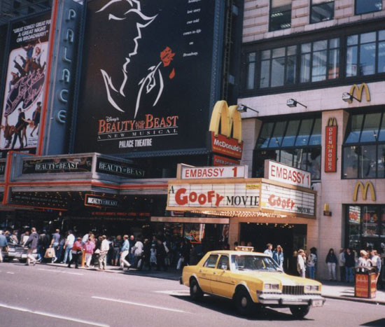 "Our editor snapped this photo of ""The Goofy Movie"" when it opened in Times Square in April 1995."